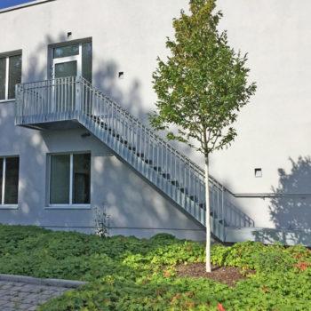 Stahltreppe mit Geländer und Wandhandlauf