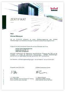 HERDIE Dorma-Zertifikat bis 25.04.2021